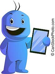 azul, tableta, ilustración, vector, plano de fondo,...