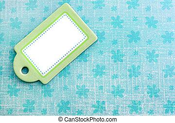 azul, tag, verde, em branco