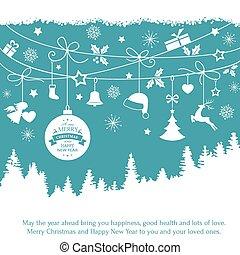 azul, tarjeta, con, ahorcadura, ornamentos de navidad, encima, árbol abeto, paisaje
