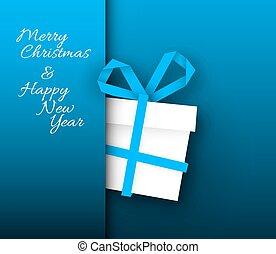 azul, tarjeta de papel, regalo de navidad, vector, hecho, ...