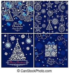 azul, tarjetas, navidad, saludo