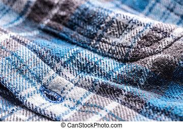 azul, tartán, botón para arriba, estilo, camisa