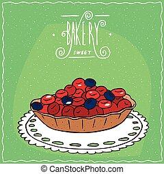 azul, tartlet, servilleta, de encaje, bayas, rojo