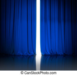 azul, teatro, o, cine, cortinas, levemente, abierto, y, blanco, luz, ser