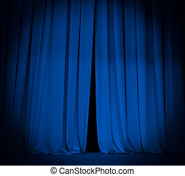 azul, teatro, plano de fondo, cortina, proyector, etapa