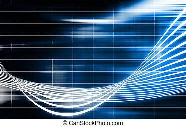 azul, tecnologia, futurista, fundo