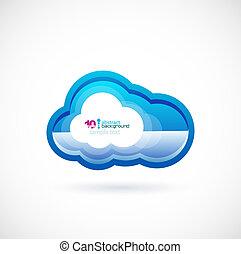 azul, tecnologia, nuvem