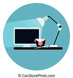 azul, teia, botão, computador desktop, local trabalho, fundo, escrivaninha, redondo, ícone
