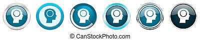 azul, teia, conjunto cabeça, ícones, cromo, opções, isolado, metálico, botões, fundo, 6, branca, borda, prata, redondo
