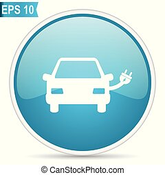 azul, teia, elétrico, 10, car, eps, vetorial, lustroso, redondo, ícone