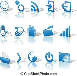 azul, teia, jogo, ícones, &, angled, 1, relections, sombras