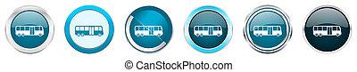 azul, teia, jogo, ícones, cromo, autocarro, opções, isolado, metálico, botões, fundo, 6, branca, borda, prata, redondo
