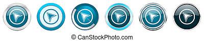 azul, teia, jogo, ícones, cromo, borda, opções, isolado, metálico, botões, fundo, 6, branca, navegação, prata, redondo