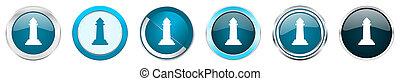 azul, teia, jogo, ícones, cromo, opções, isolado, metálico, botões, xadrez, fundo, 6, branca, borda, prata, redondo