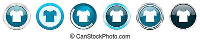 azul, teia, jogo, camisa, ícones, cromo, opções, isolado, metálico, botões, fundo, 6, branca, borda, prata, redondo