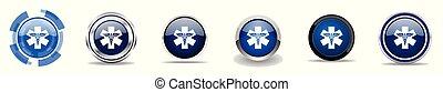 azul, teia, jogo, emergência, botões, cromo, hospitalar, ícones, eps, metálico, vetorial, sinais, farmácia, borda, prata, redondo, 10