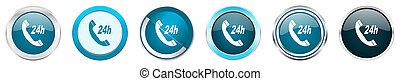 azul, teia, jogo, serviço, ícones, cromo, opções, isolado, metálico, botões, fundo, 6, branca, borda, prata, redondo