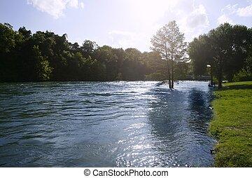 azul, tejas, san, naturaleza, antonio, paisaje de río