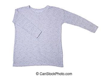 azul, tejido, suéter