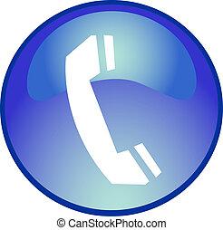 azul, teléfono, botón
