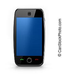azul, teléfono celular, aislado
