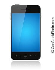 azul, teléfono, pantalla, aislado, elegante