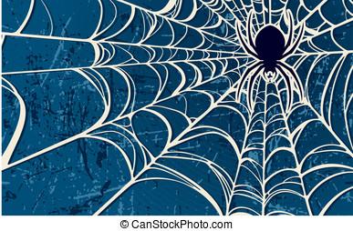 azul, tela, Araña, Plano de fondo