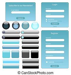 azul, tela, barras, buttons., luz, formas, plantilla