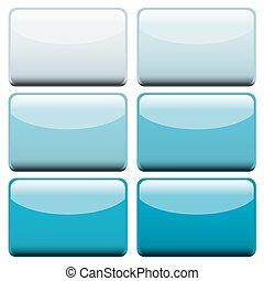 azul, tela, botones