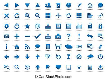 azul, tela, conjunto, navegación, iconos