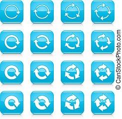 azul, tela, cuadrado, botón, señal, reload, icono flecha