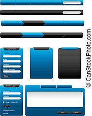 azul, tela, elementos, colección