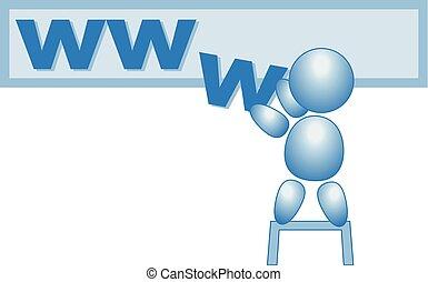 azul, tela, www, figura, vector, palo, internet, macho, página principal