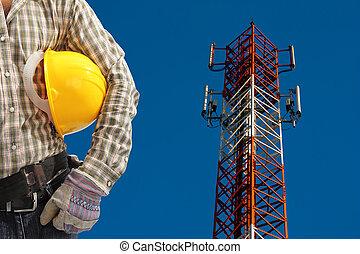 azul, telecomunicación, sky., pintado, claro, contra, torre...