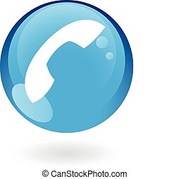 azul, telefone, lustroso