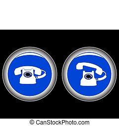 azul, telefone preto, contra, ícones