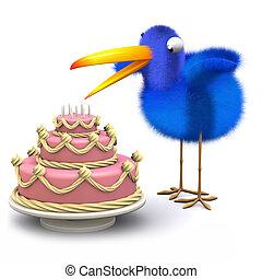 azul, tem, bolo, encantador, pássaro, 3d