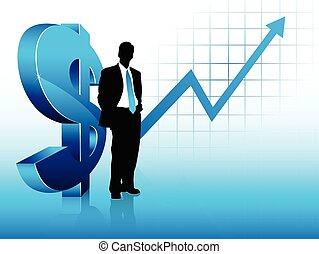 azul, tema, homem negócios, silueta, mostrando, sucesso...