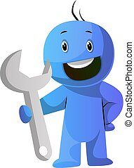 azul, tenencia, grande, herramienta, ilustración, vector,...