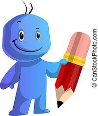 azul, tenencia, grande, ilustración, pluma, vector, plano de...