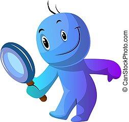 azul, tenencia, ilustración, lupa, vector, plano de fondo,...