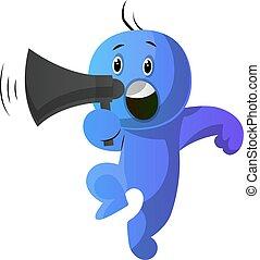 azul, tenencia, ilustración, speakephone, vector, plano de...