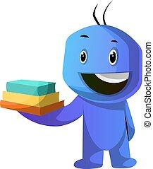 azul, tenencia, ilustración, vector, libros, plano de fondo,...