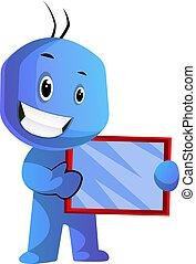 azul, tenencia, tableta, ilustración, vector, plano de fondo...