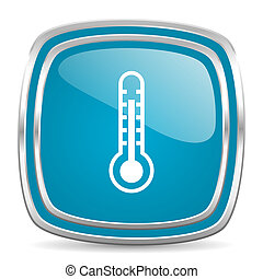 azul, termômetro, lustroso, ícone
