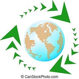 azul, terra, reciclagem, setas, leafage