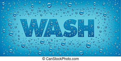 azul, texto, água, lavagem, fundo, muitos, gotas