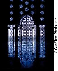 azul, thru, luz, manchado, gl, refleja