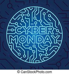 azul, tienda, compras, lunes, fondo., concept., en línea, venta, descuento, descuento, venta, eléctrico, cyber, circuito, internet, store., tela, publicidad