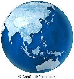 azul, tierra, asia, y, australia